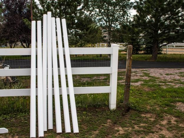 horse jump rails painted white