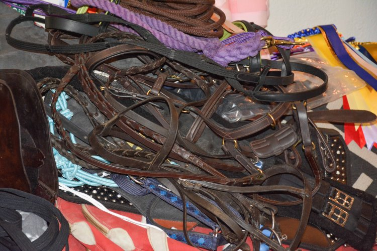 how to be a budget equestrian piles of horse tack