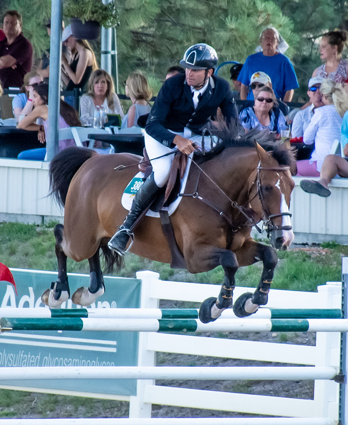 a horse jumping a fence at a horse show