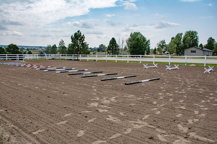poles in a riding arena