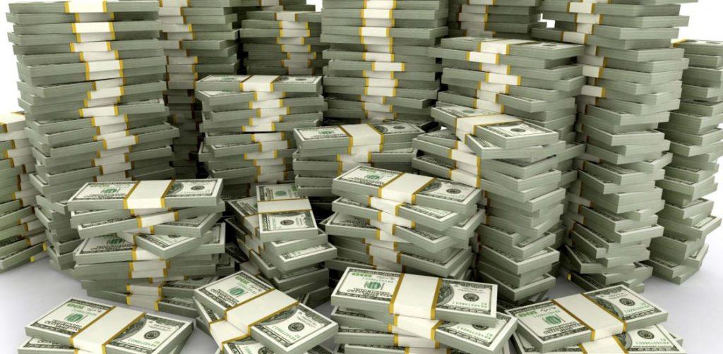 large piles of money
