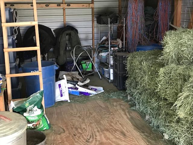 a messy barn
