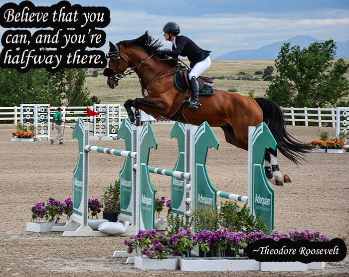 a horse and rider jumping a big jump