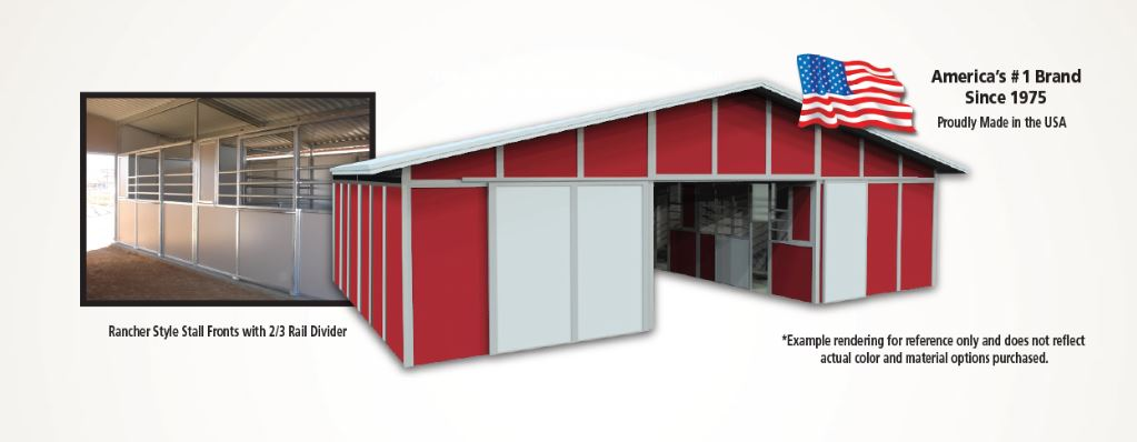 A red barn with an image of the inside stall