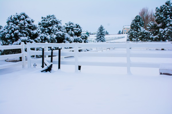 snow covering an outdoor riding arena