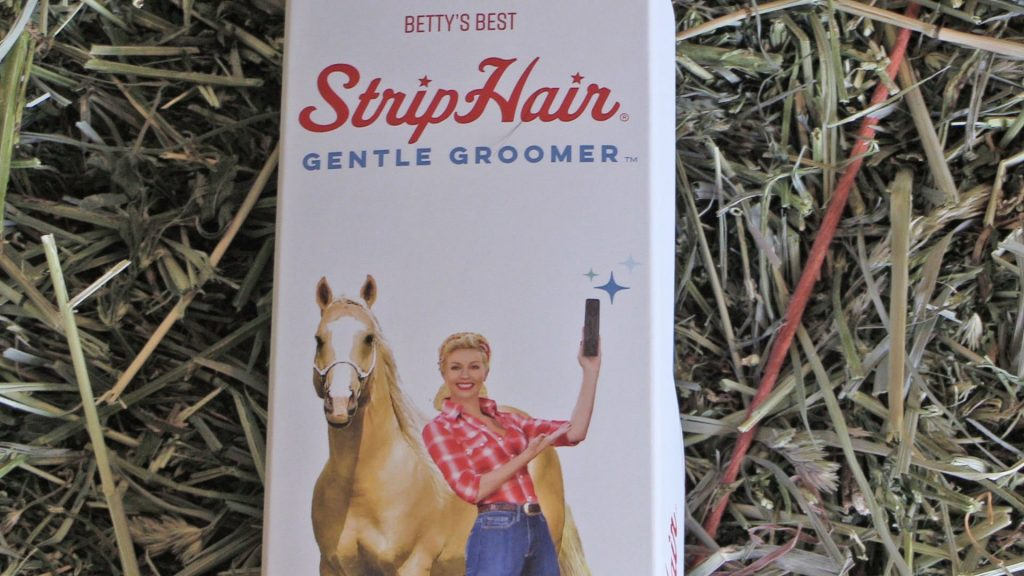 the striphair gentle groomer for horses product box close up