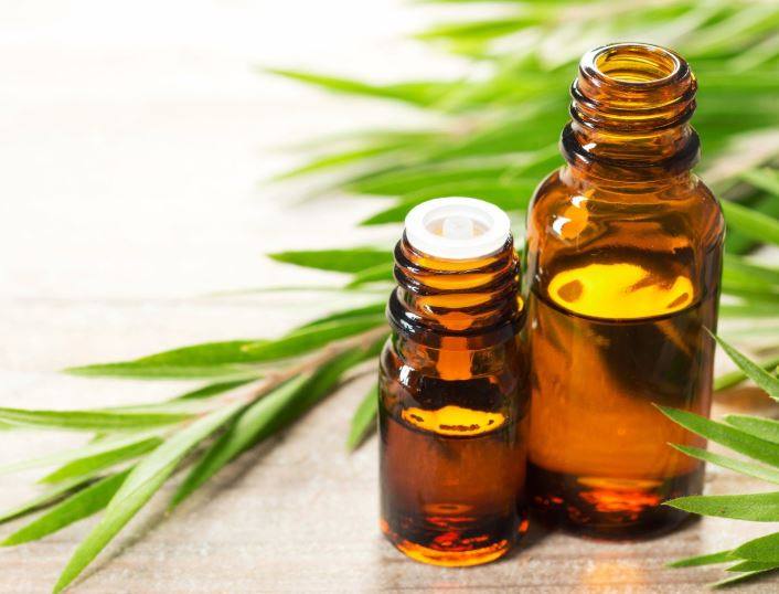 tea tree essential oil in a brown bottle