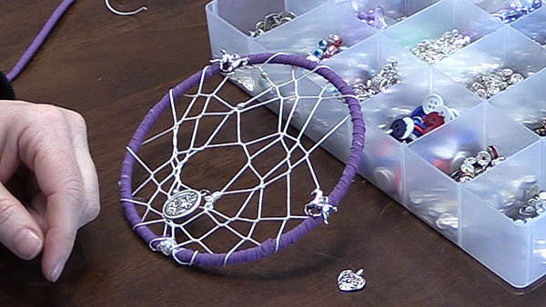 up close view of the center of a dream catcher