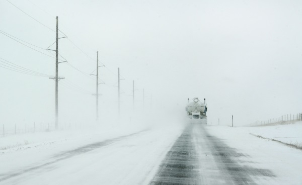 a blizzard county road