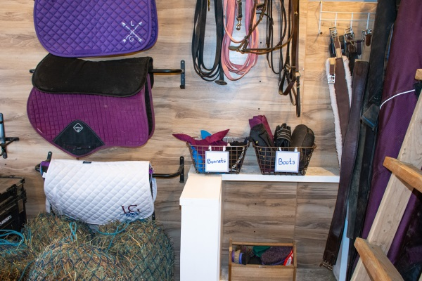 an organized tack room