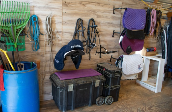 a small yet tidy tack room