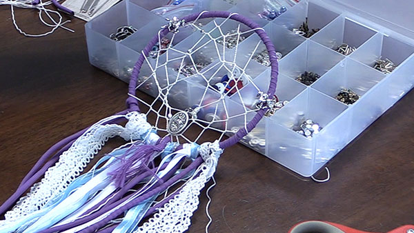 a completed homemade dream catcher