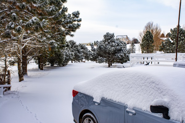 a snow covered driveway
