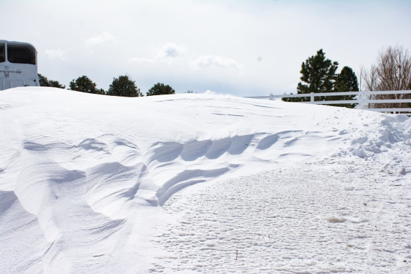 a snow drift from the bomb cyclone