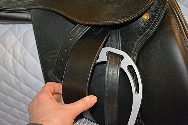 total saddle fit stability stirrup leather in black on a Devoucoux saddle