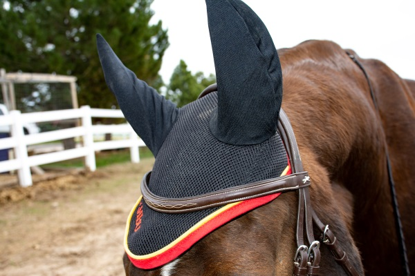 close up view of a Rambo bonnet on a horse