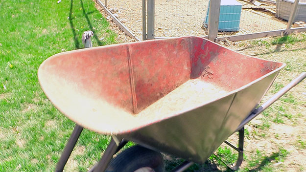 the inside of a wheelbarrow