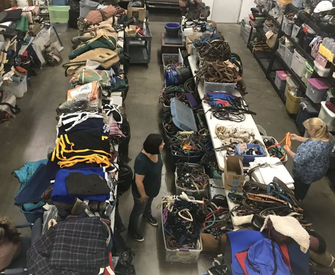 a large amount of tack for sale at a consignment sale