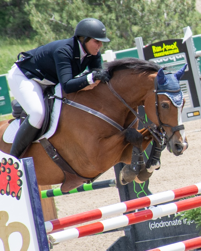a horse and rider going over a jump at a horse show