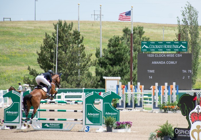 a grand prix rider jumping a fence in a horse show
