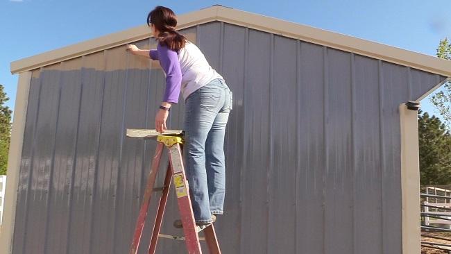 Painting a metal barn
