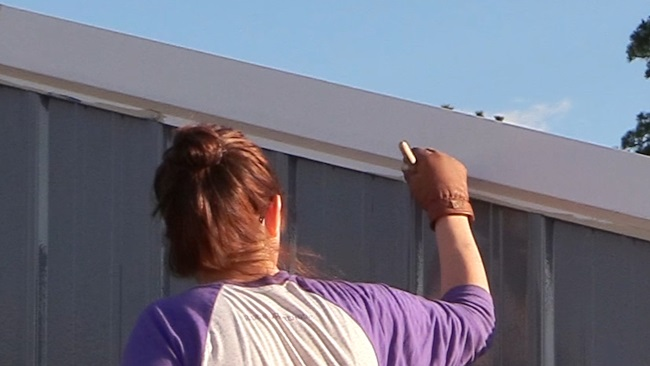 painting trim on a barn