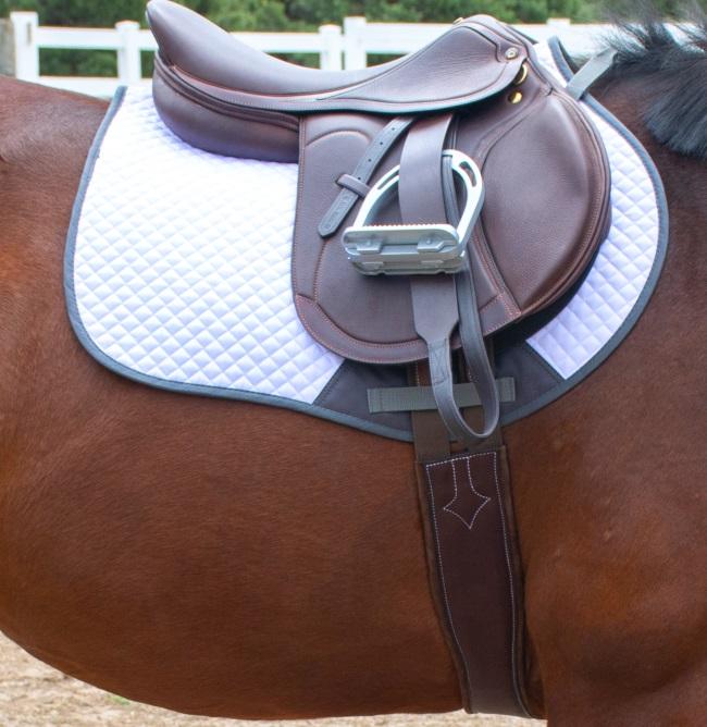 close up of an English saddle on a horses back