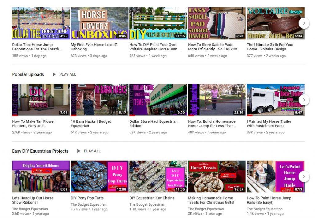 Budget equestrian YouTube videos