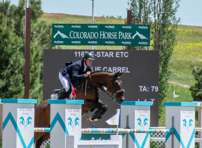 Charlie Carrel riding e-star at the Colorado horse park