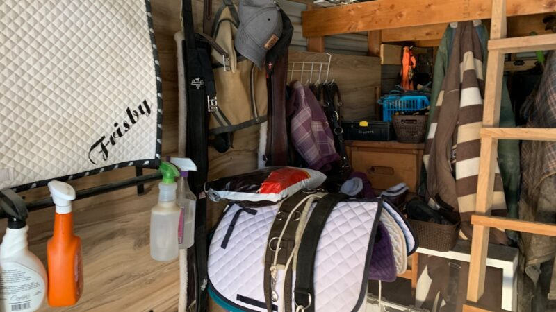 a tack room with a just riding package