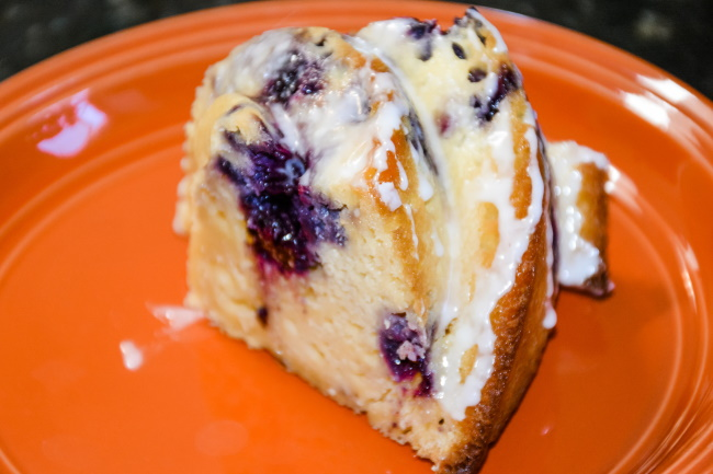 Blueberry Lemon Cream Cheese Bundt Cake with Glaze